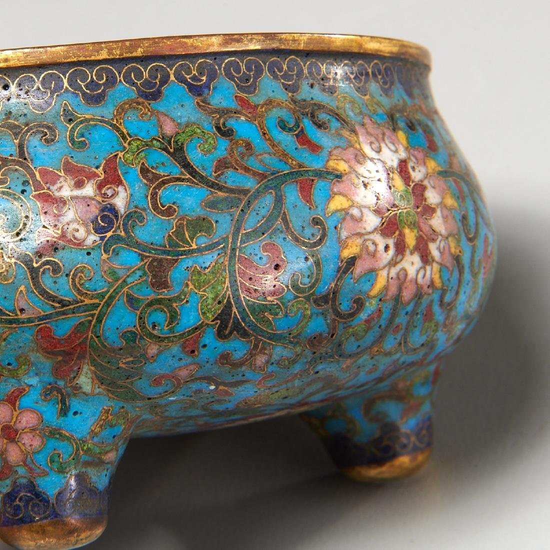 Chinese circular cloisonne censer - 5