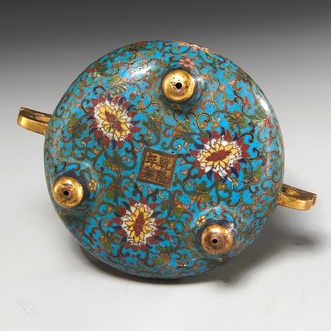 Chinese circular cloisonne censer - 7