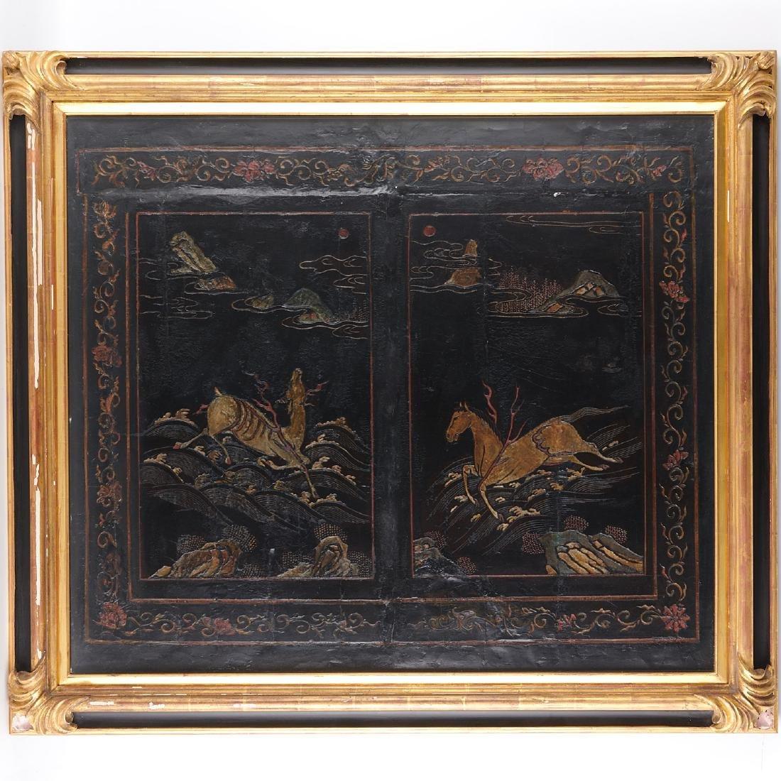 Early Chinese framed coromandel panel