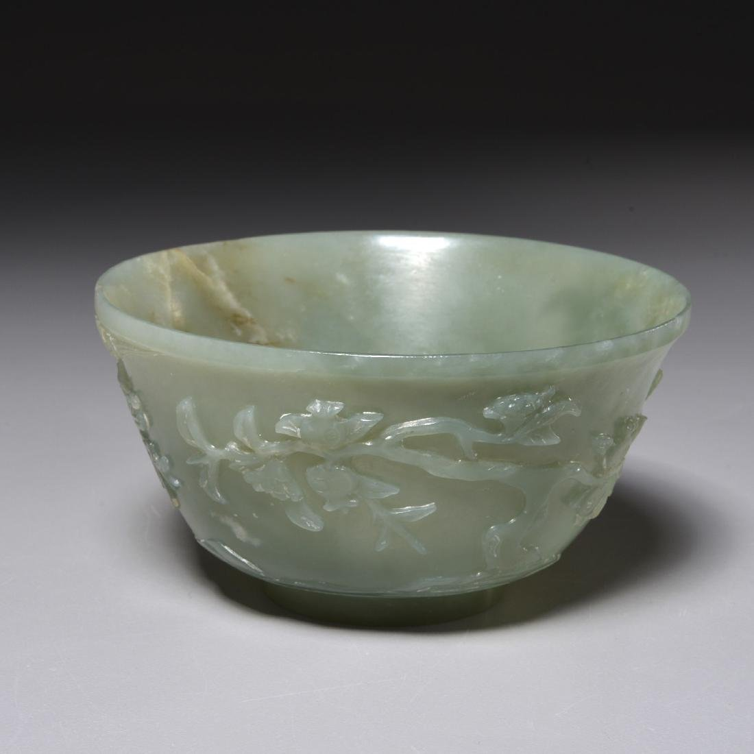 Chinese carved green jade bowl