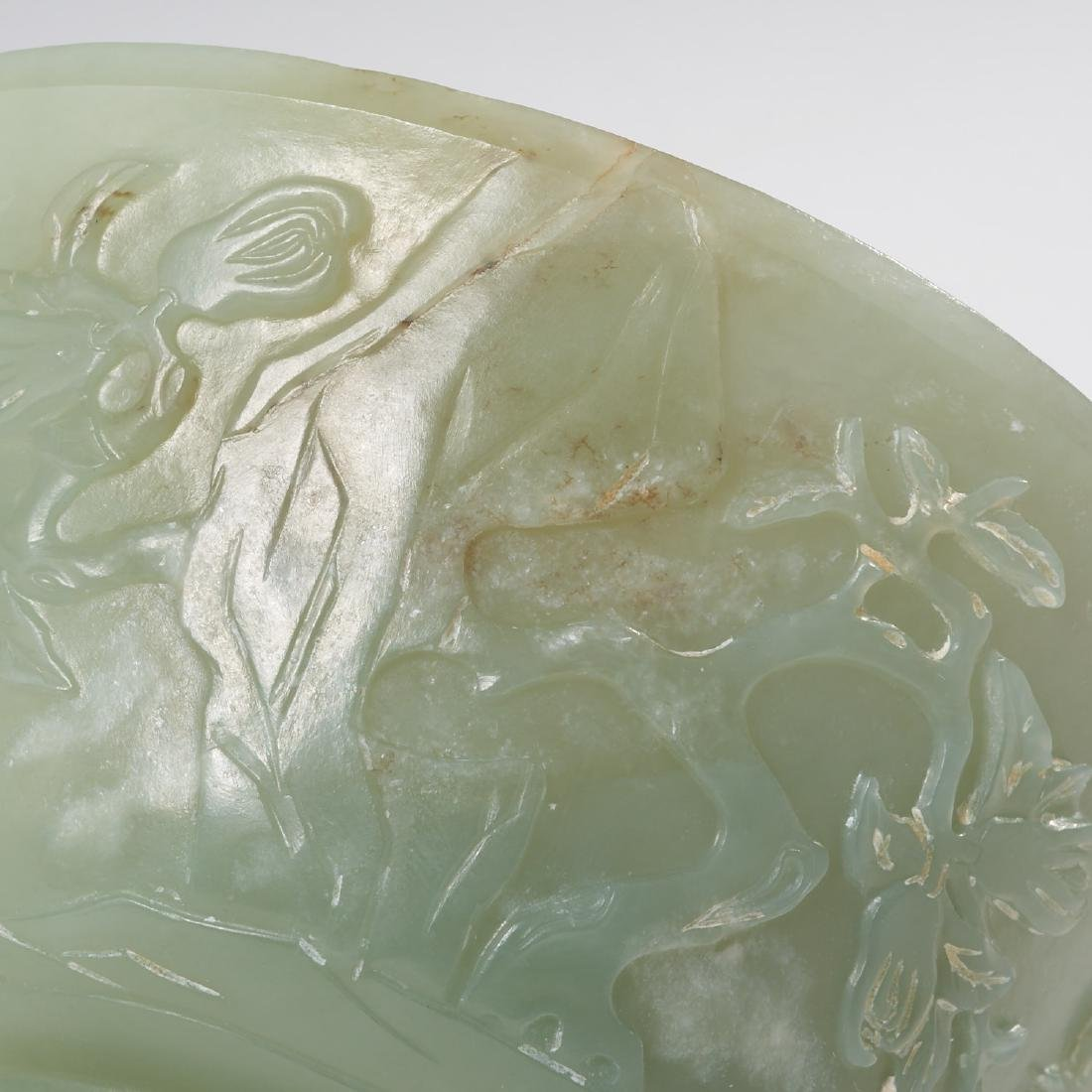 Chinese carved green jade bowl - 4