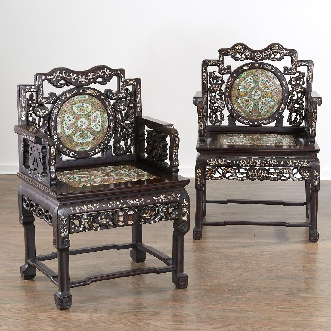 Pair Chinese Export porcelain inset armchairs
