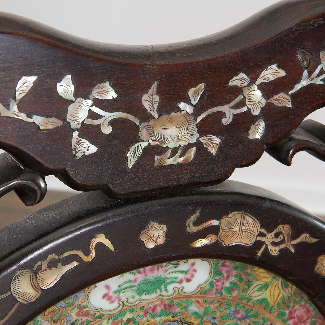 Pair Chinese Export porcelain inset armchairs - 5