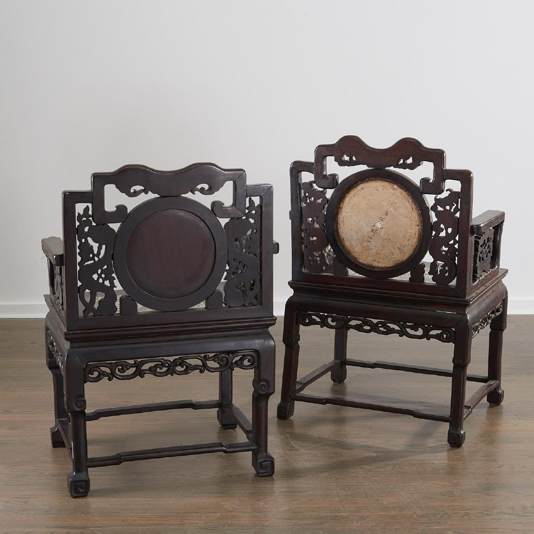 Pair Chinese Export porcelain inset armchairs - 9