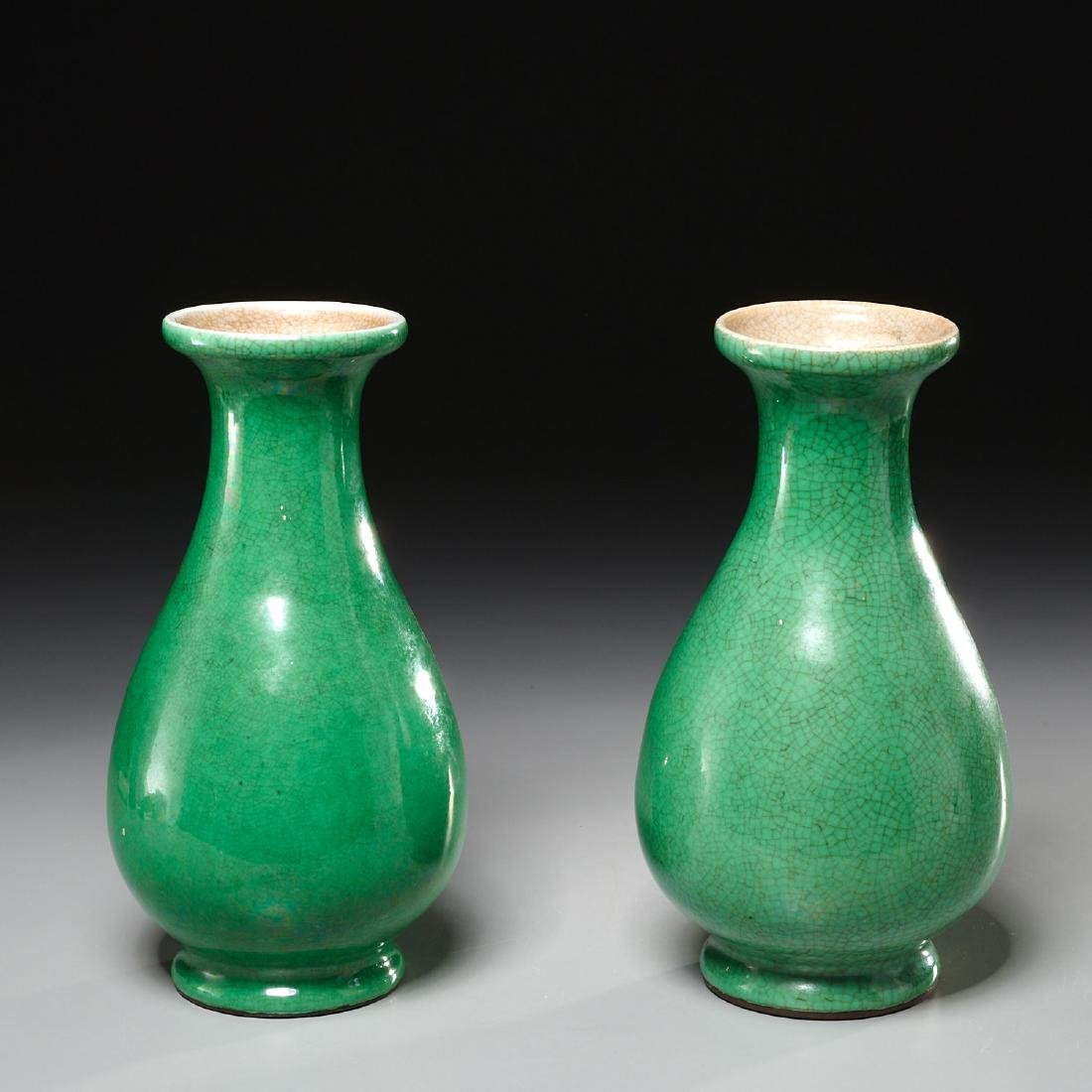 Pair Chinese apple-green crackle glazed vases