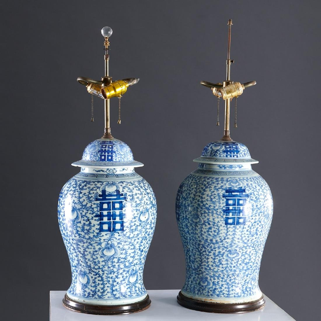 Pair large Chinese blue and white ginger jar lamps