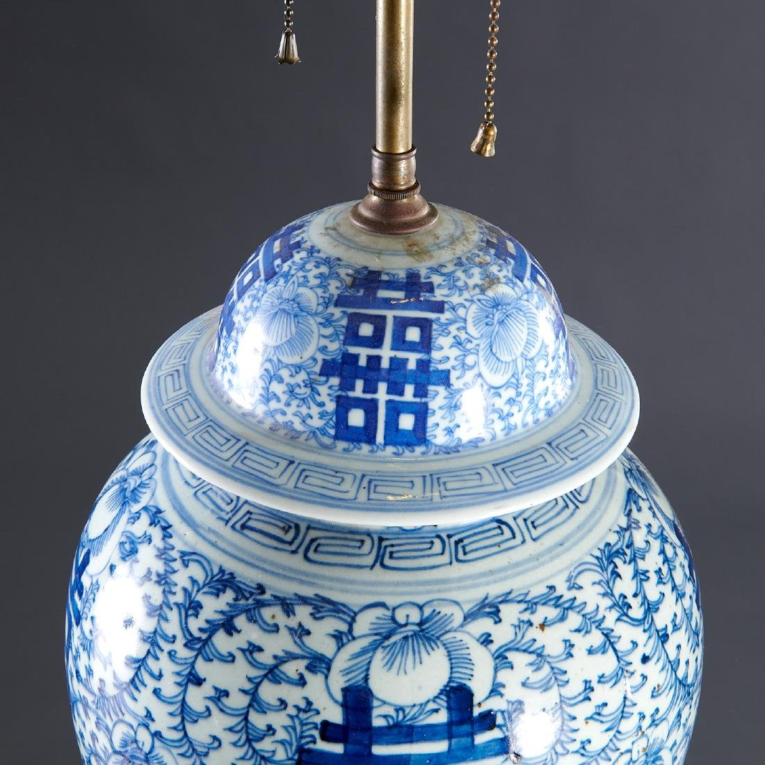Pair large Chinese blue and white ginger jar lamps - 2