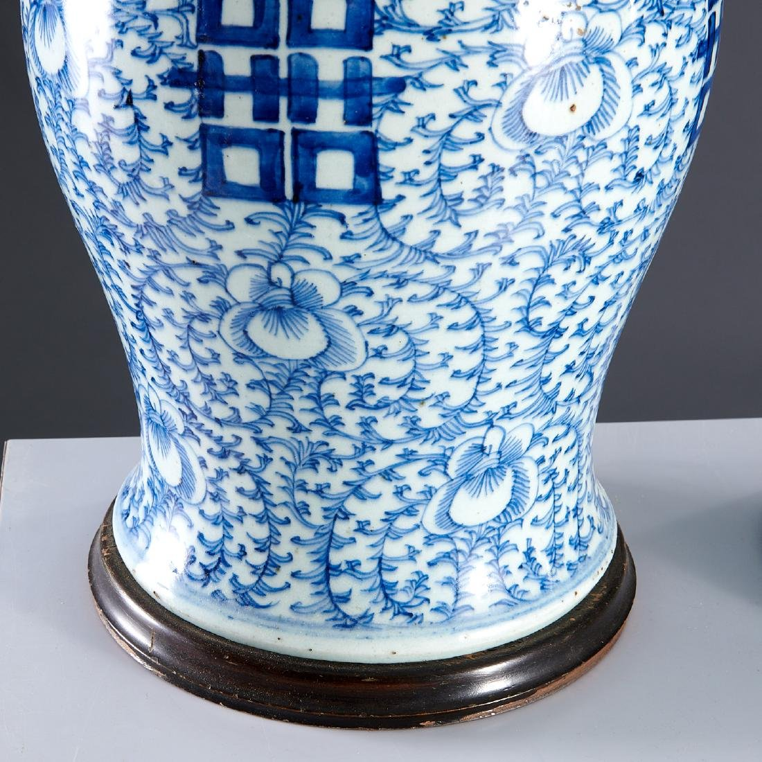 Pair large Chinese blue and white ginger jar lamps - 3