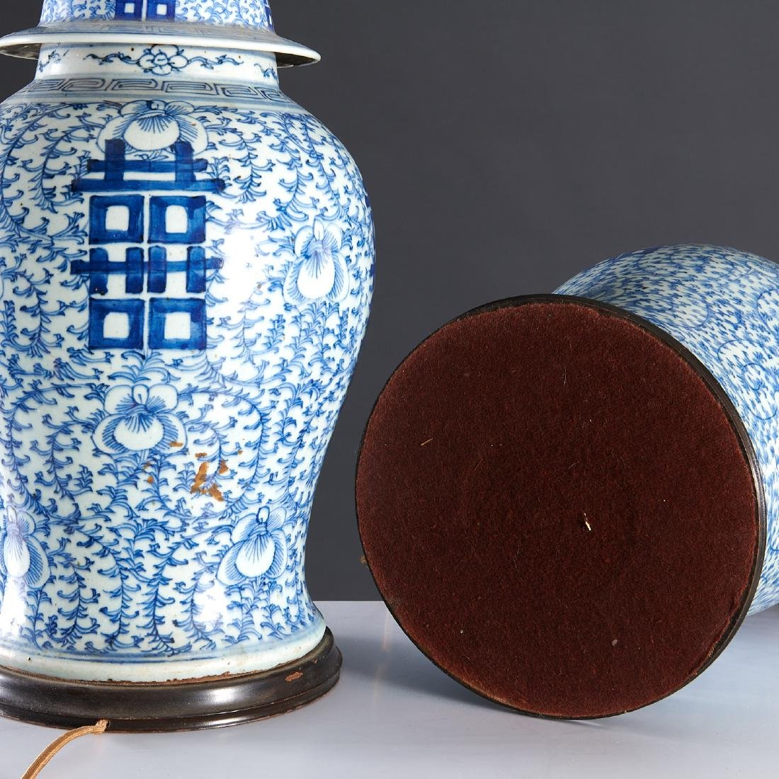 Pair large Chinese blue and white ginger jar lamps - 7