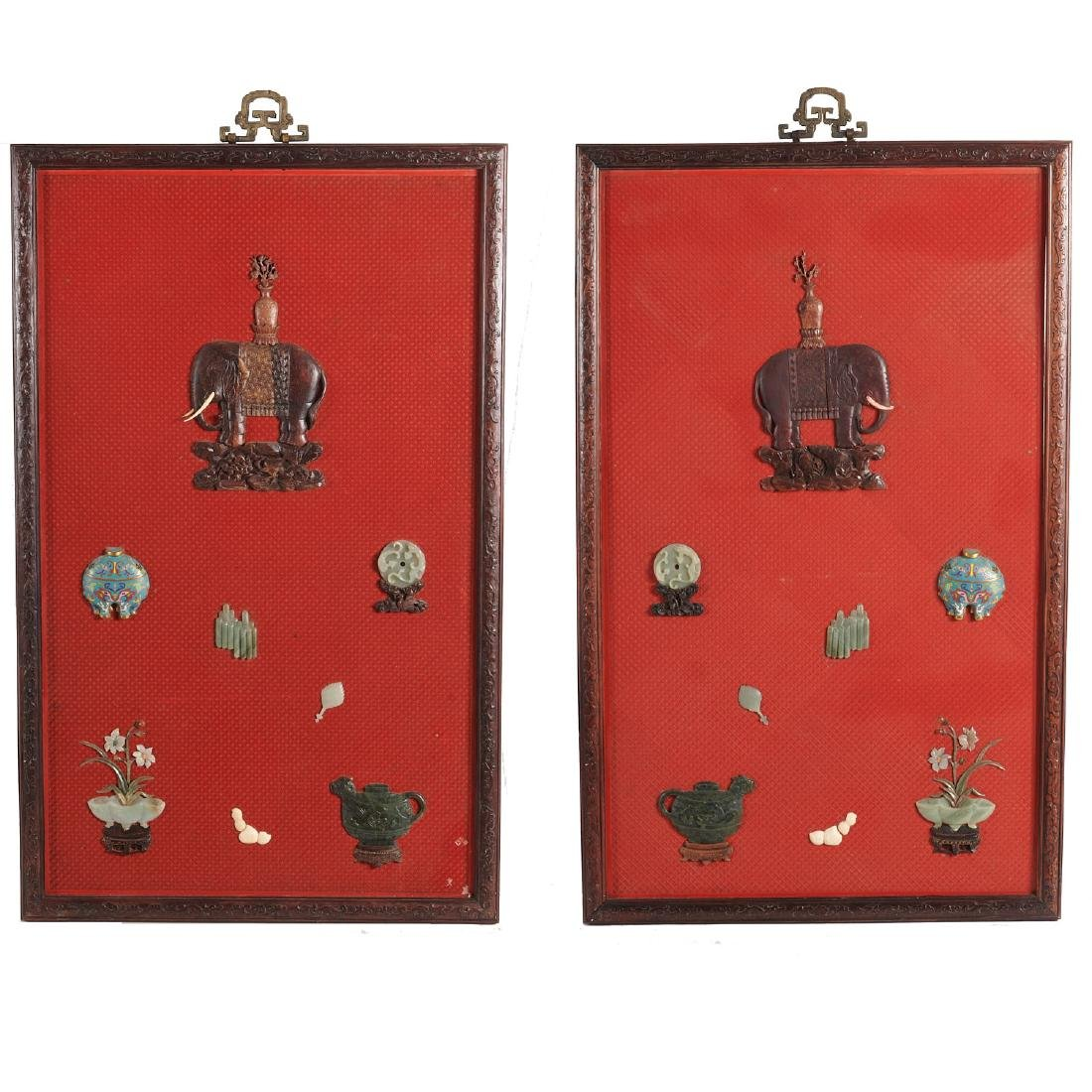 Pair Chinese inlaid cinnabar lacquer panels
