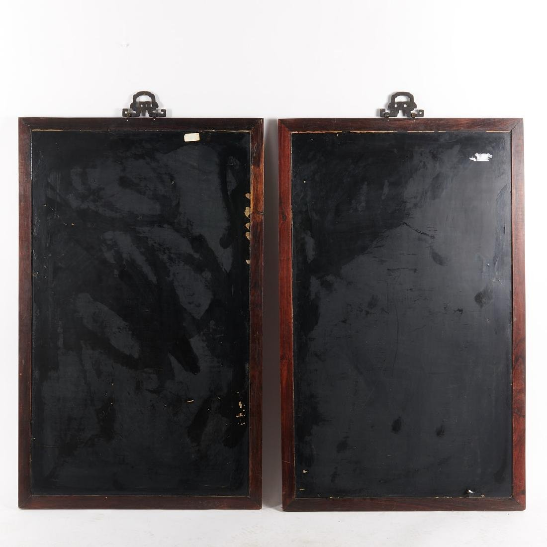 Pair Chinese inlaid cinnabar lacquer panels - 9