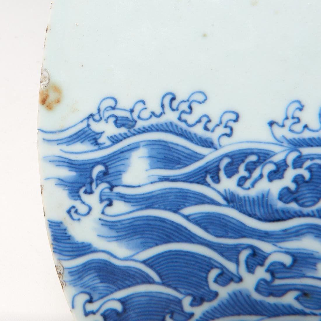 Chinese blue and white porcelain plaque - 4