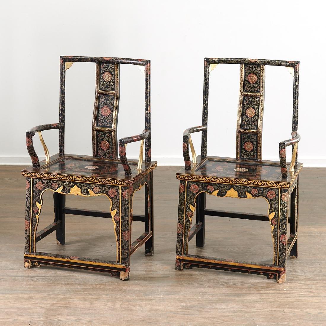 Pair Chinese gilt black lacquer yokeback armchairs - 2