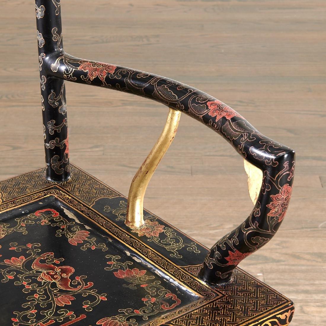 Pair Chinese gilt black lacquer yokeback armchairs - 3
