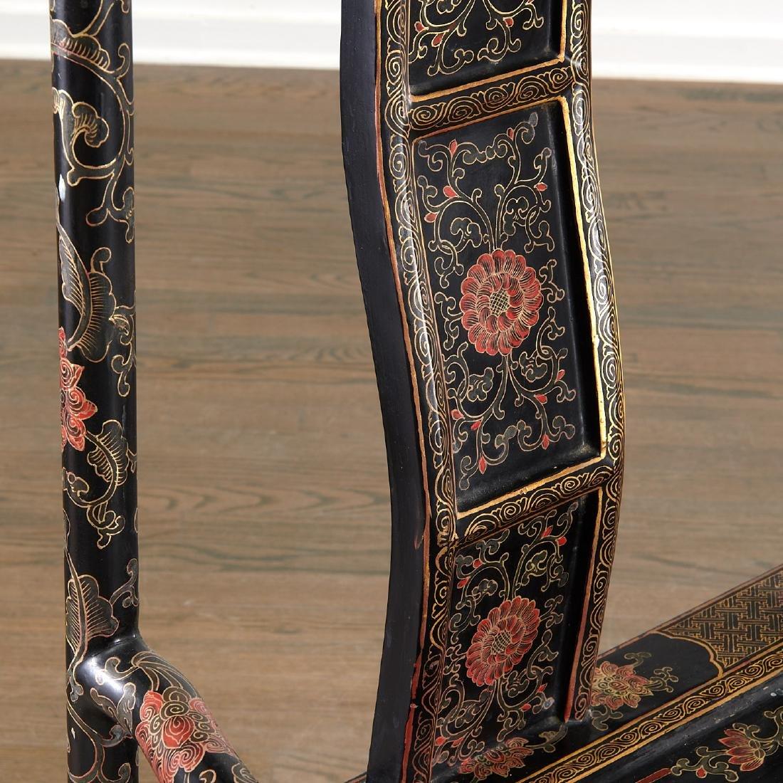 Pair Chinese gilt black lacquer yokeback armchairs - 4