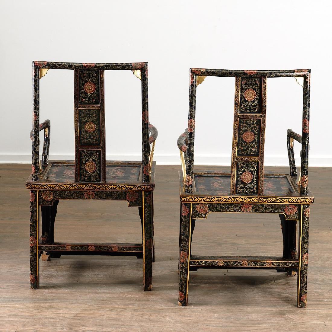 Pair Chinese gilt black lacquer yokeback armchairs - 5