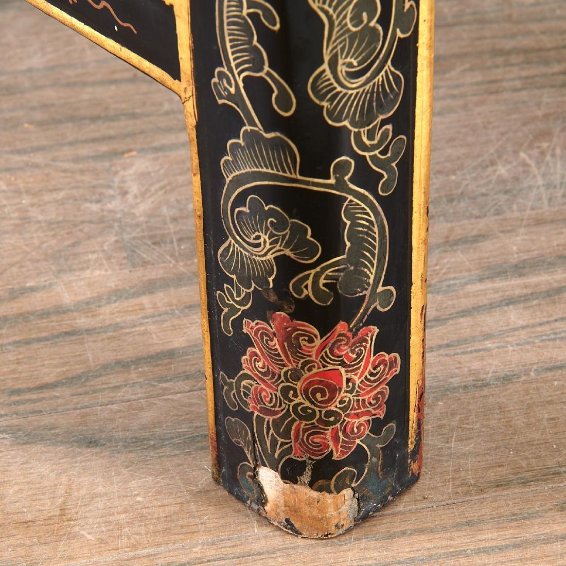 Pair Chinese gilt black lacquer yokeback armchairs - 7