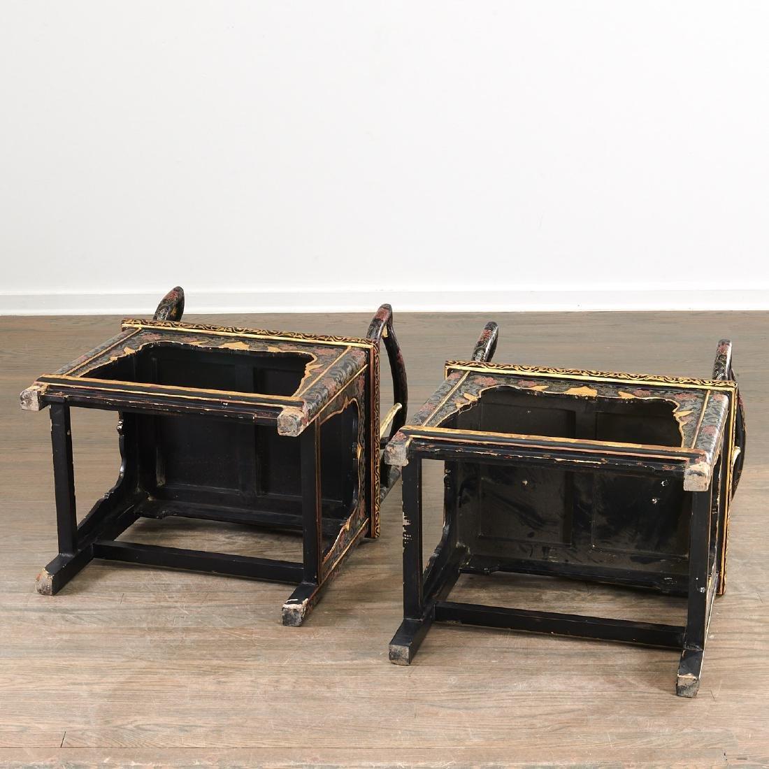 Pair Chinese gilt black lacquer yokeback armchairs - 8