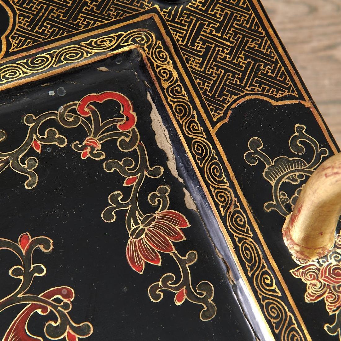 Pair Chinese gilt black lacquer yokeback armchairs - 9
