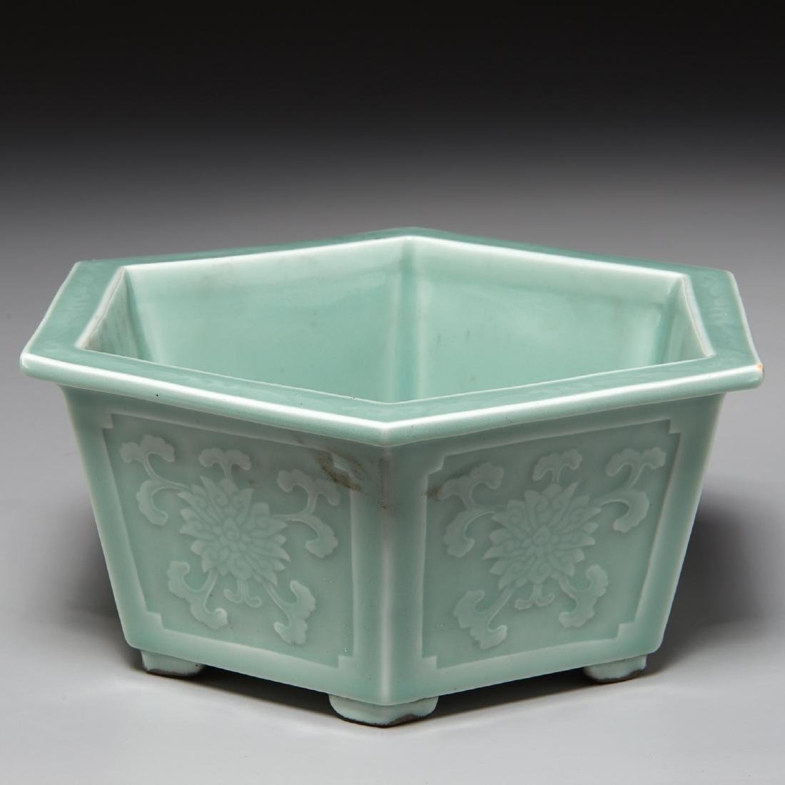 Old Chinese carved celadon jardiniere