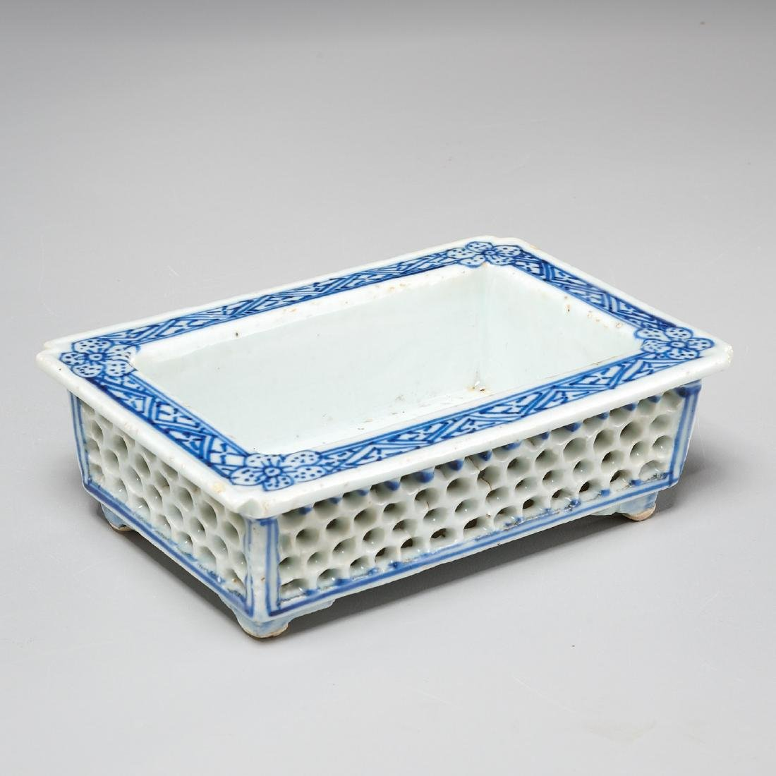 Chinese blue and white reticulated jardiniere