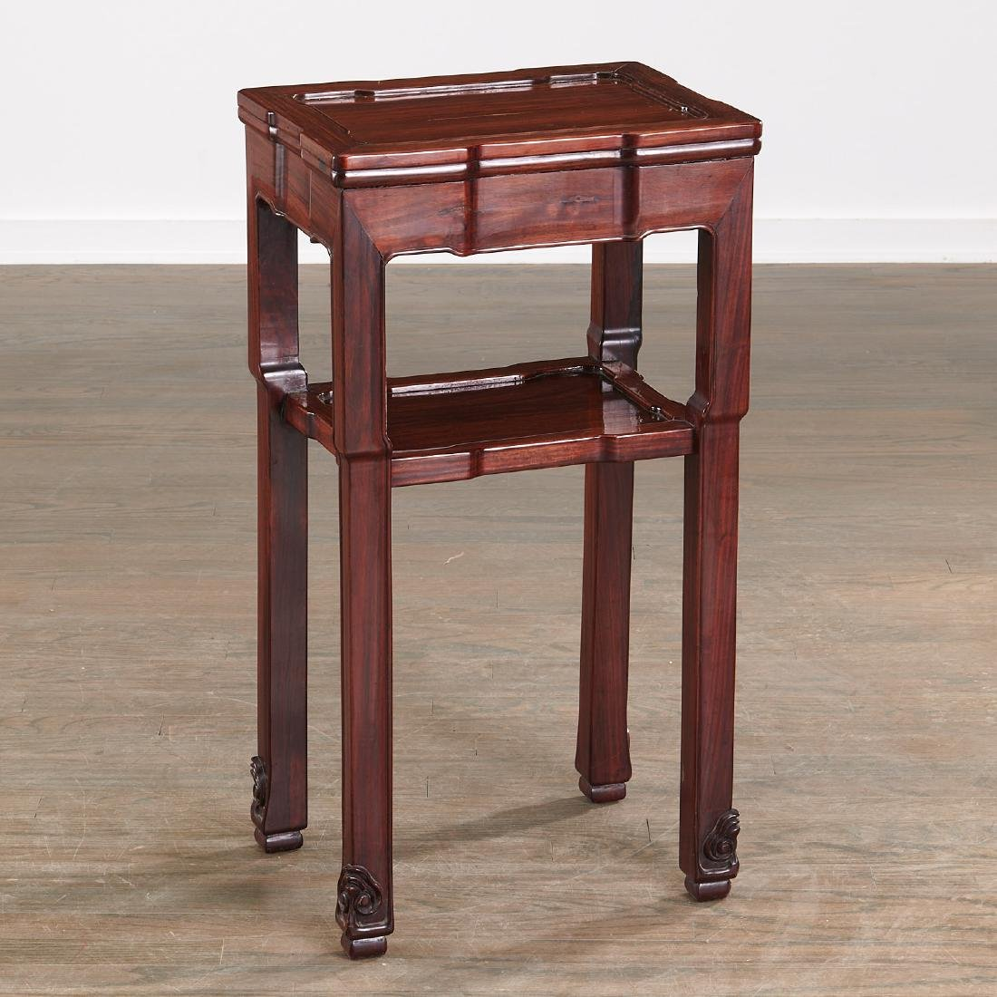 Chinese carved hardwood two-tier stand
