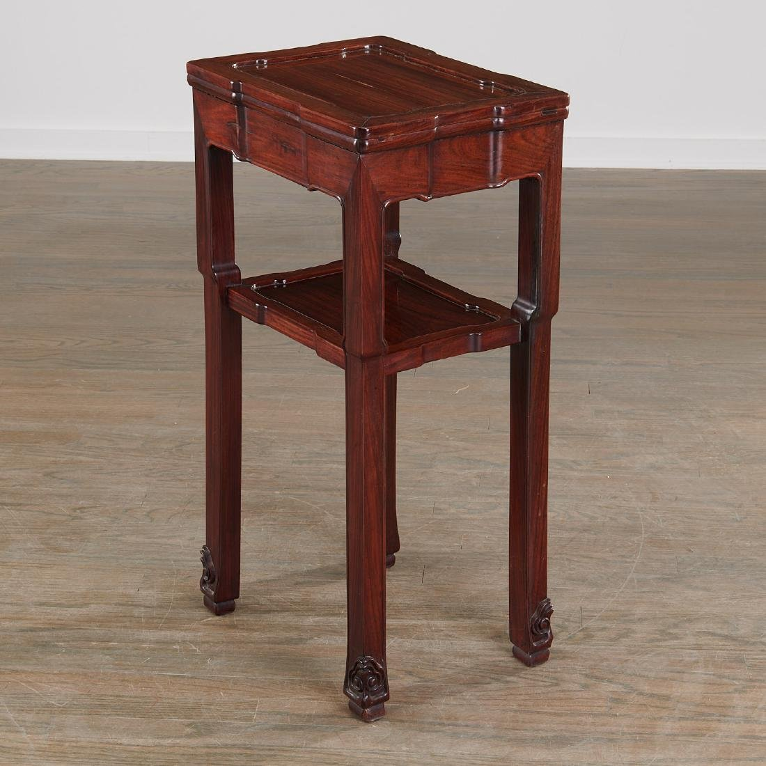 Chinese carved hardwood two-tier stand - 6