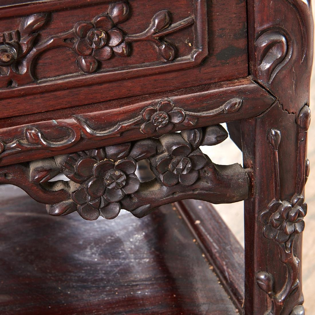 Fine Chinese Export carved hardwood two-part desk - 10