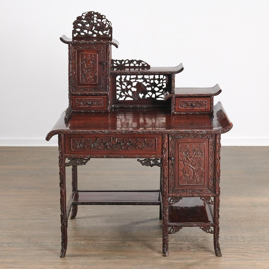 Fine Chinese Export carved hardwood two-part desk