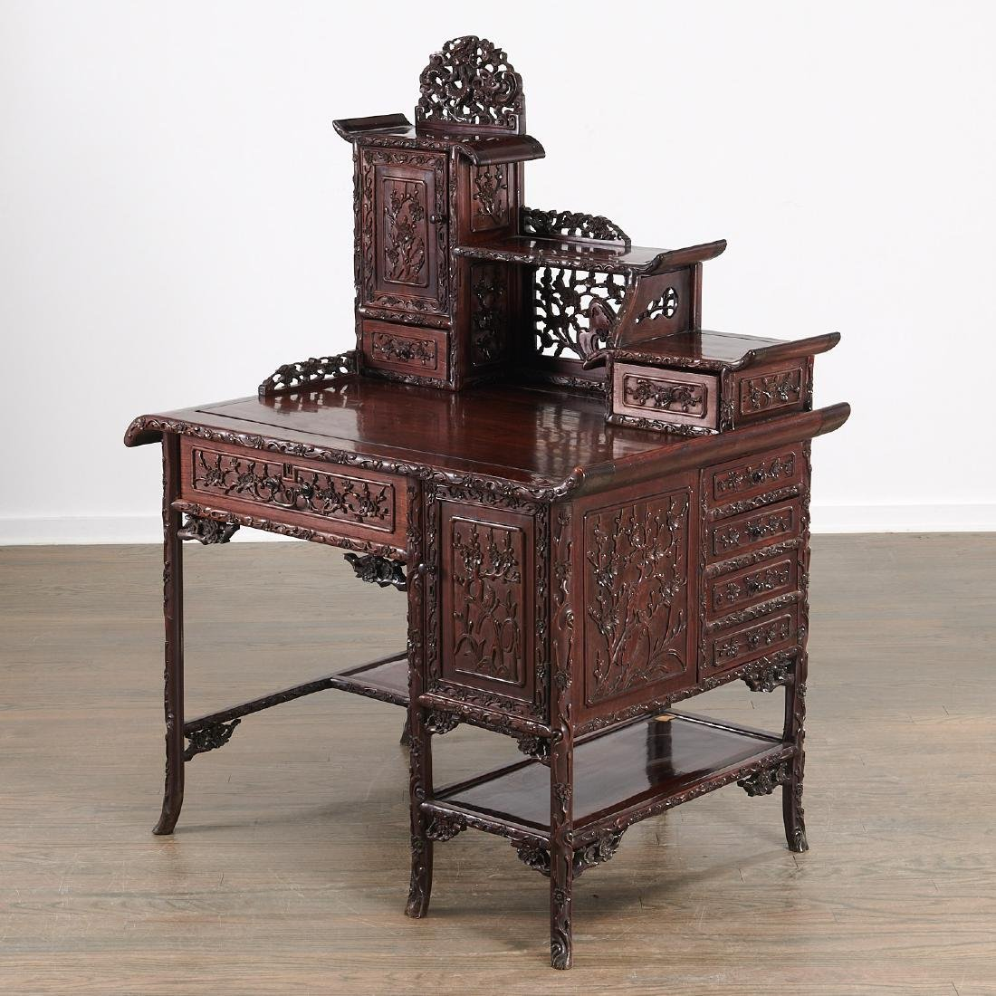 Fine Chinese Export carved hardwood two-part desk - 2