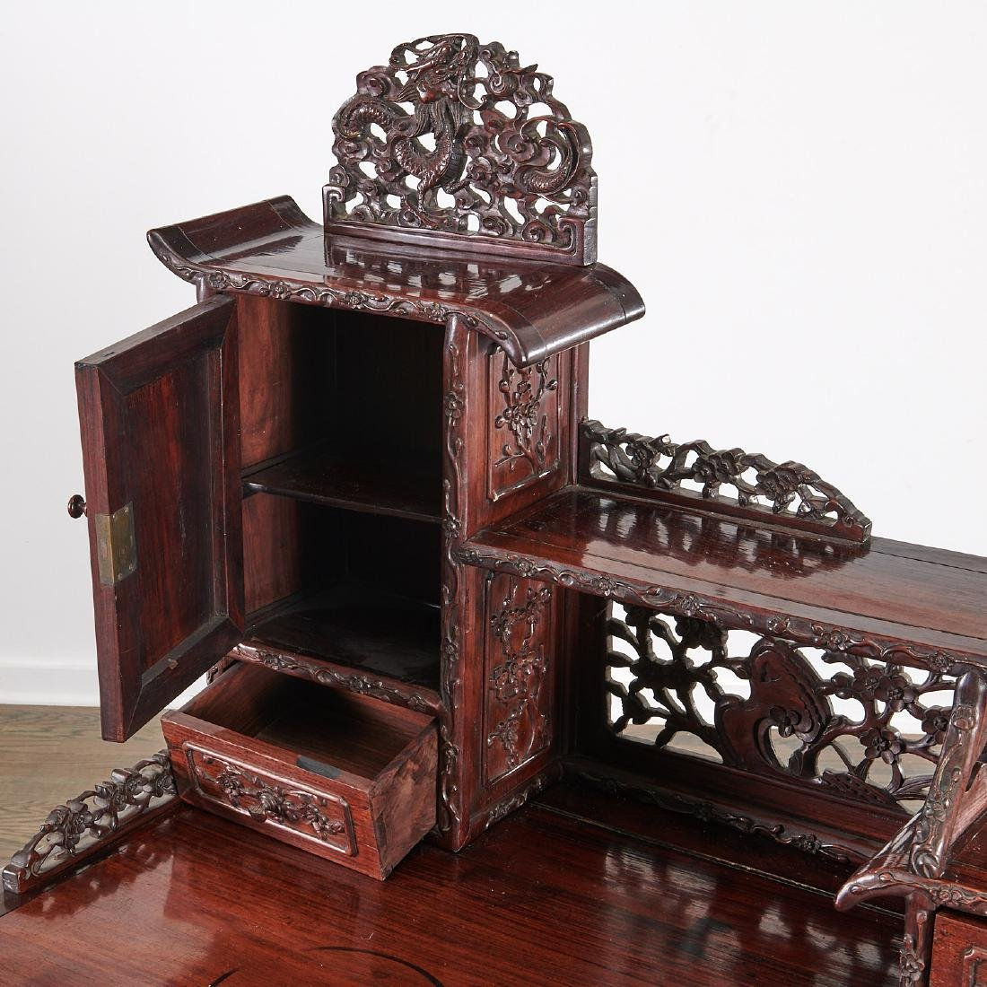 Fine Chinese Export carved hardwood two-part desk - 3