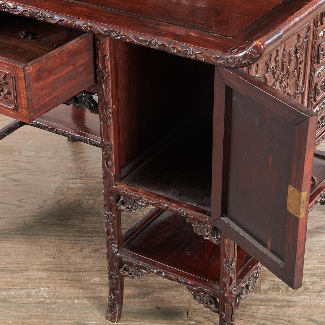 Fine Chinese Export carved hardwood two-part desk - 4