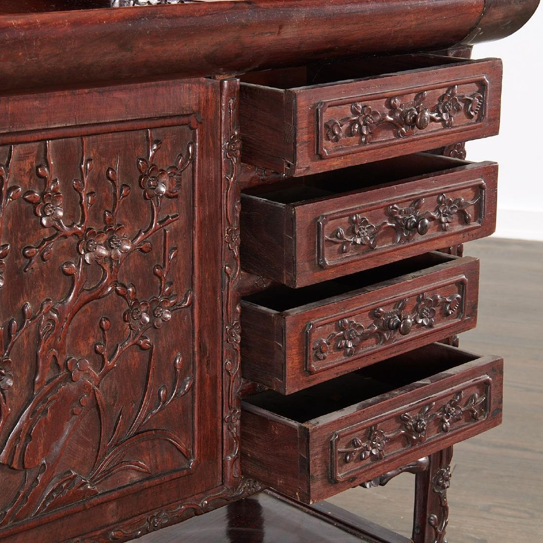 Fine Chinese Export carved hardwood two-part desk - 5