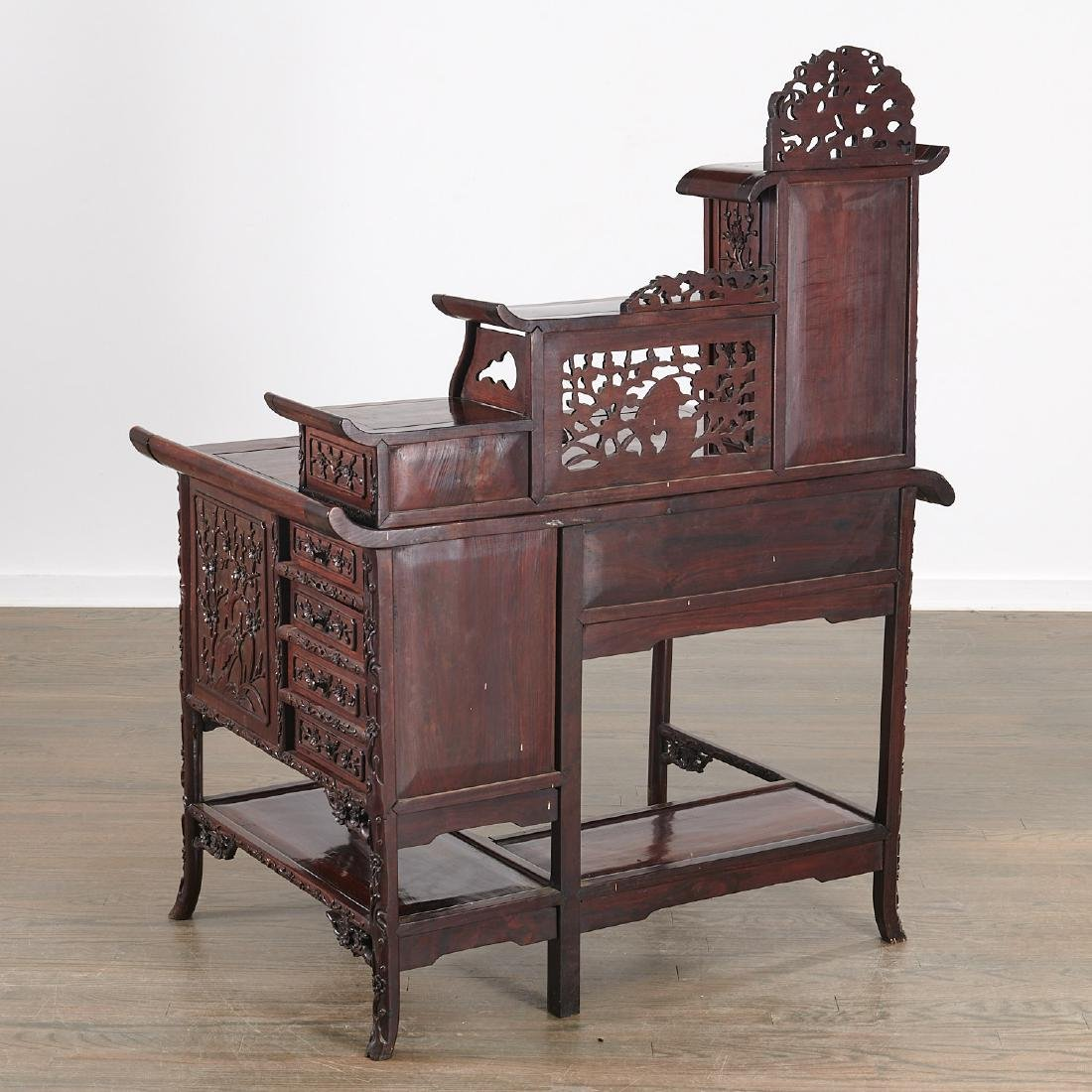 Fine Chinese Export carved hardwood two-part desk - 6