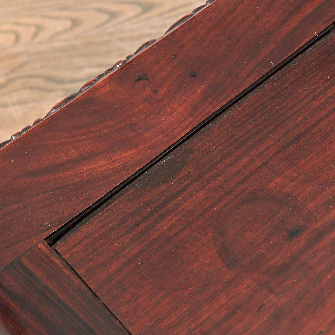 Fine Chinese Export carved hardwood two-part desk - 7