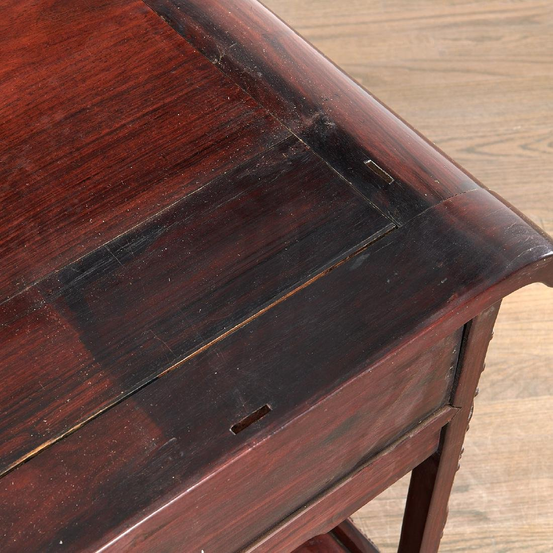 Fine Chinese Export carved hardwood two-part desk - 9