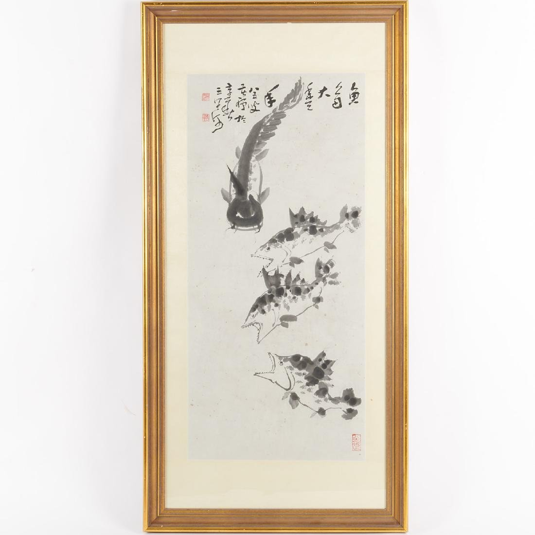 Chinese watercolor painting of fish