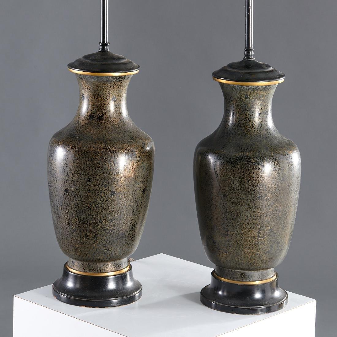 Pair Japanese black cloisonne vase lamps