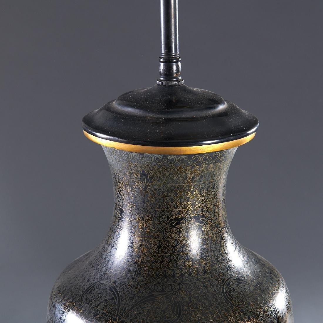 Pair Japanese black cloisonne vase lamps - 2