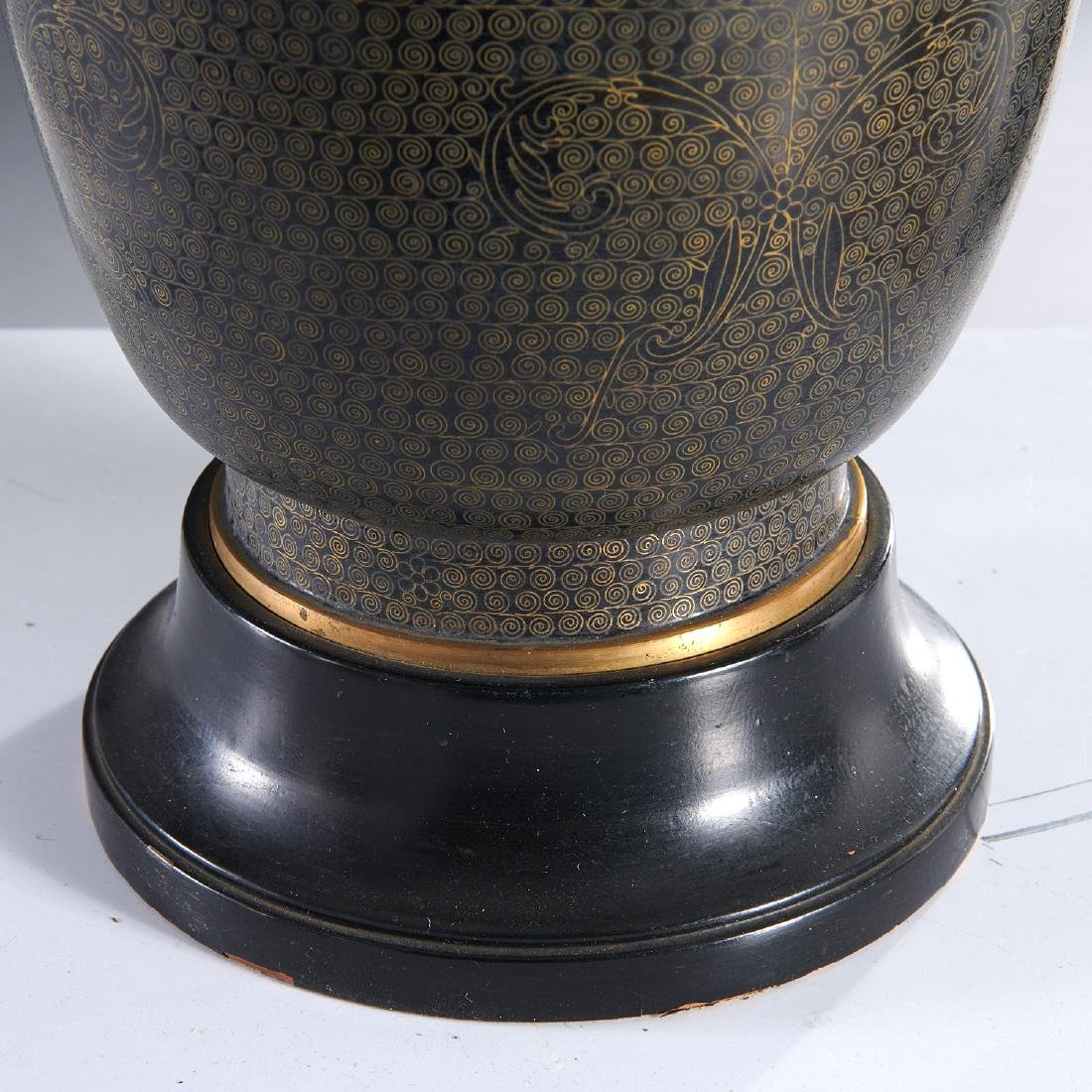 Pair Japanese black cloisonne vase lamps - 3