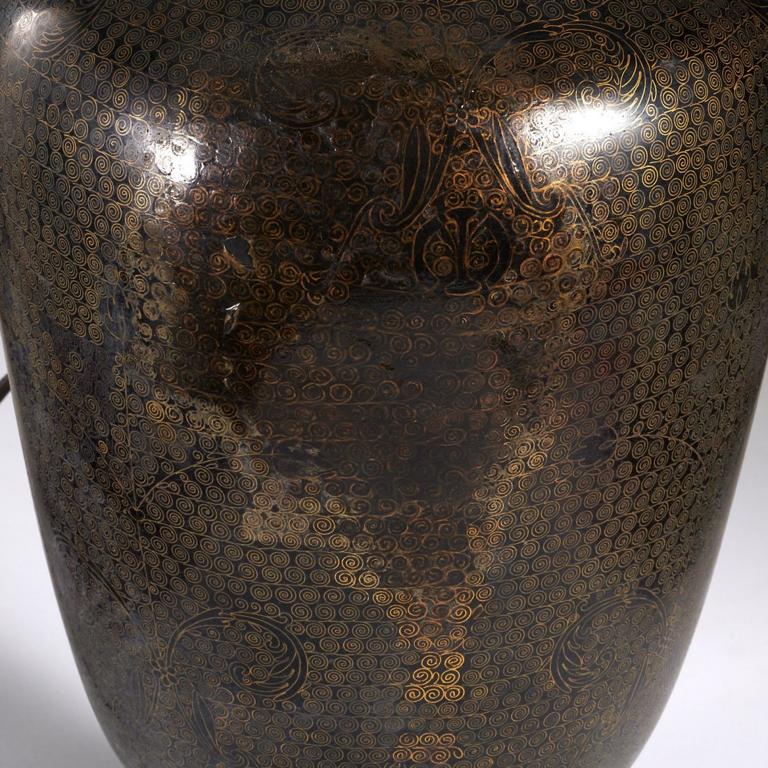 Pair Japanese black cloisonne vase lamps - 7