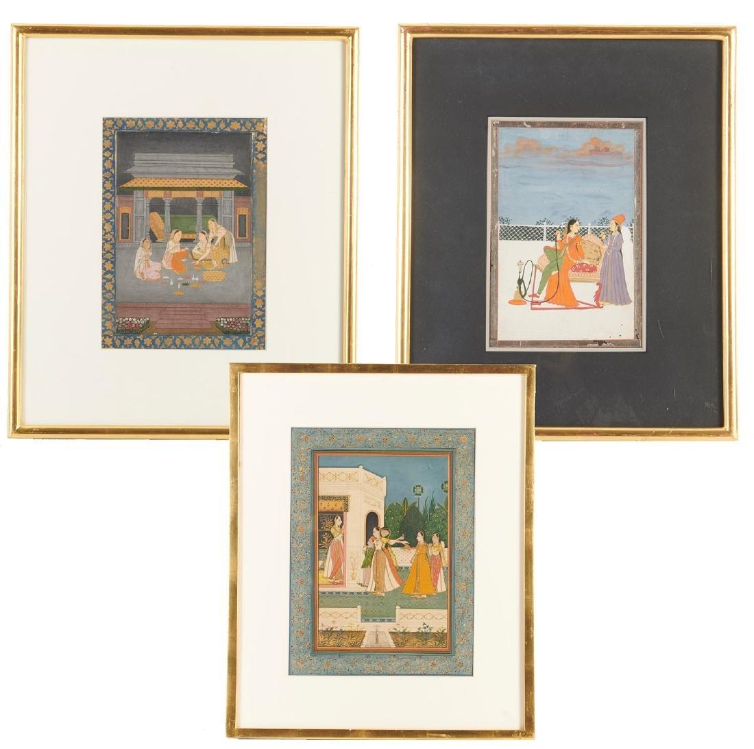 Mughal School, (3) paintings