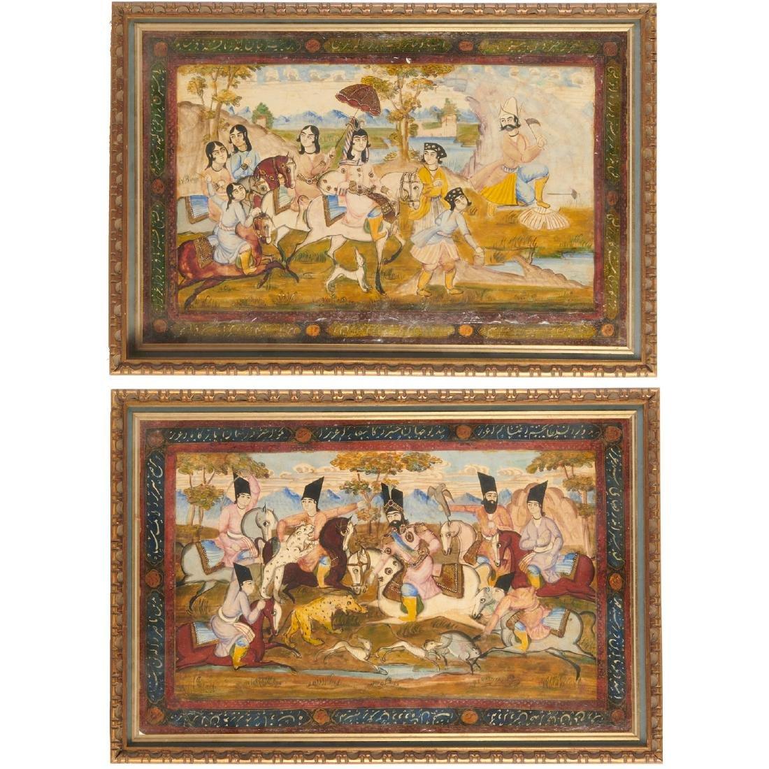 (2) Persian hunt scene paintings