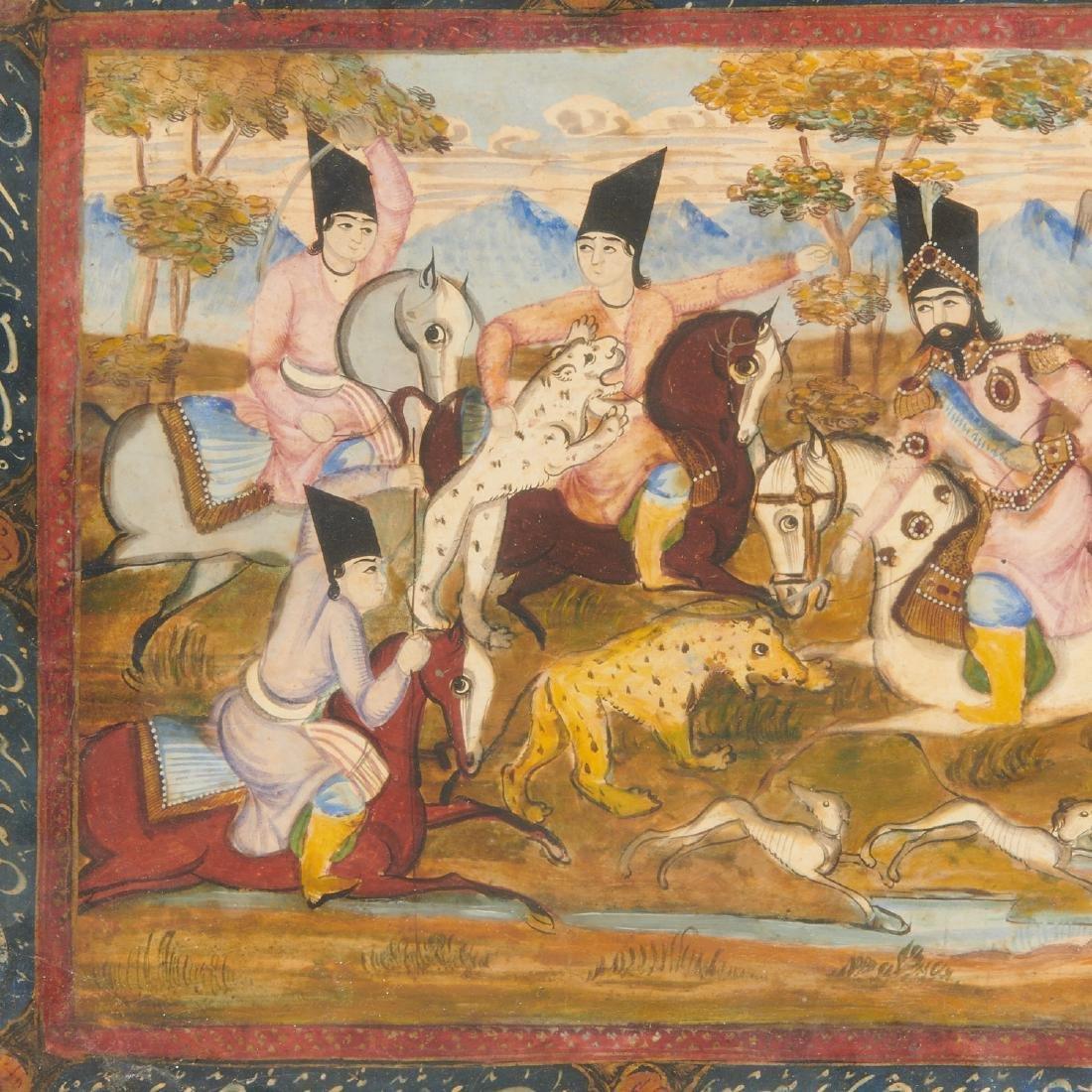 (2) Persian hunt scene paintings - 2