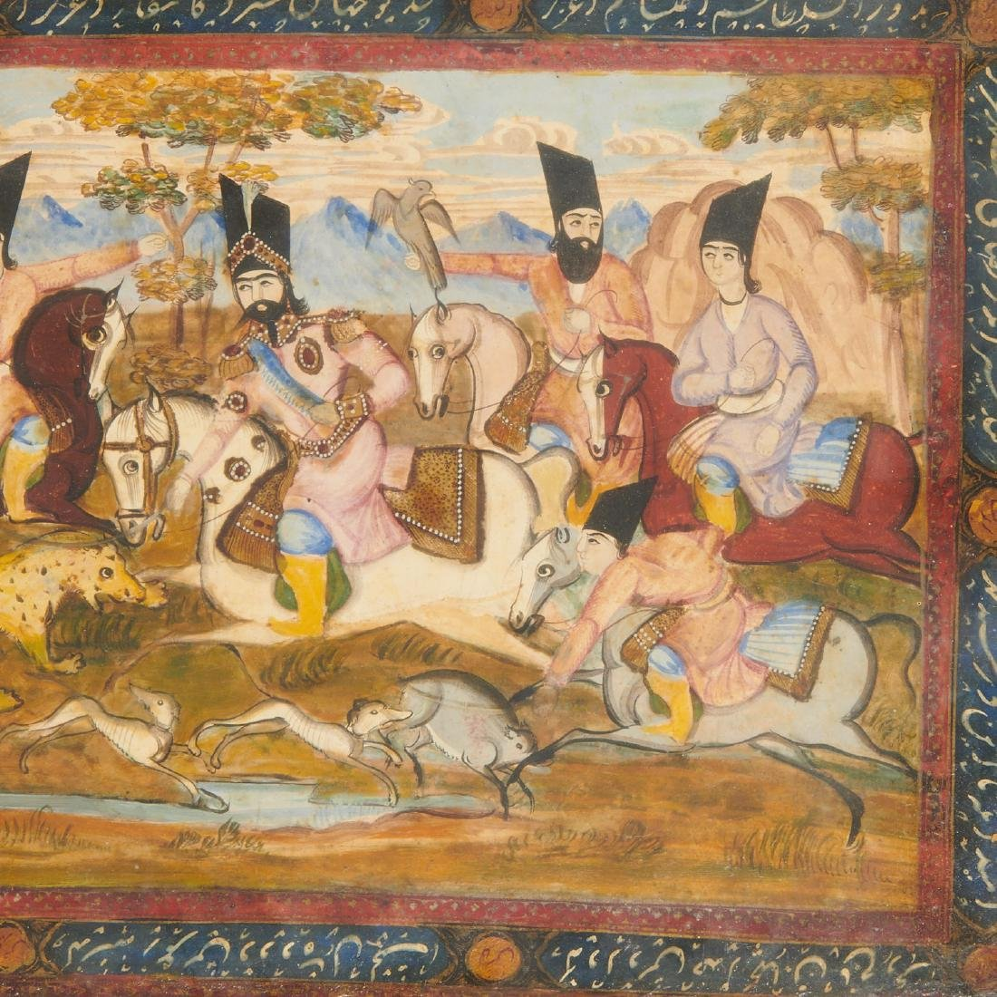 (2) Persian hunt scene paintings - 3