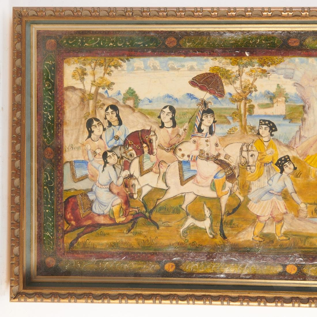 (2) Persian hunt scene paintings - 4