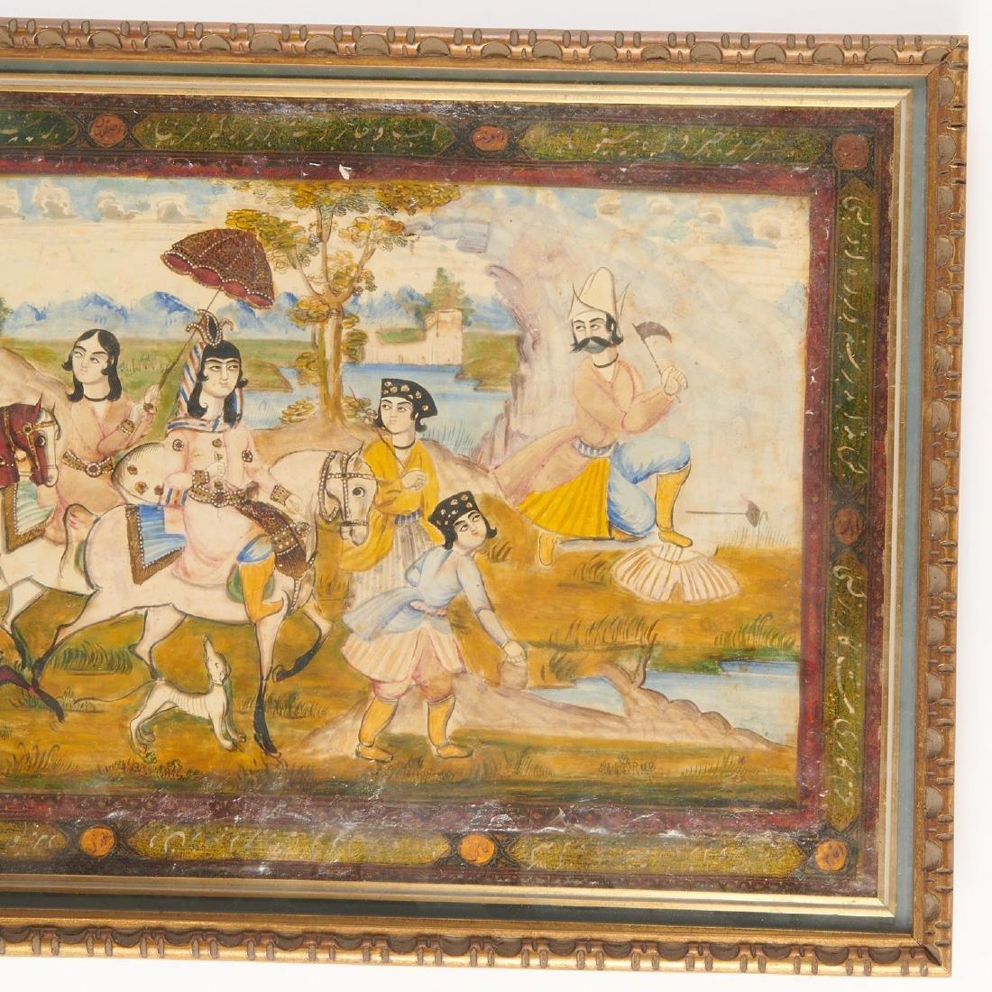 (2) Persian hunt scene paintings - 5