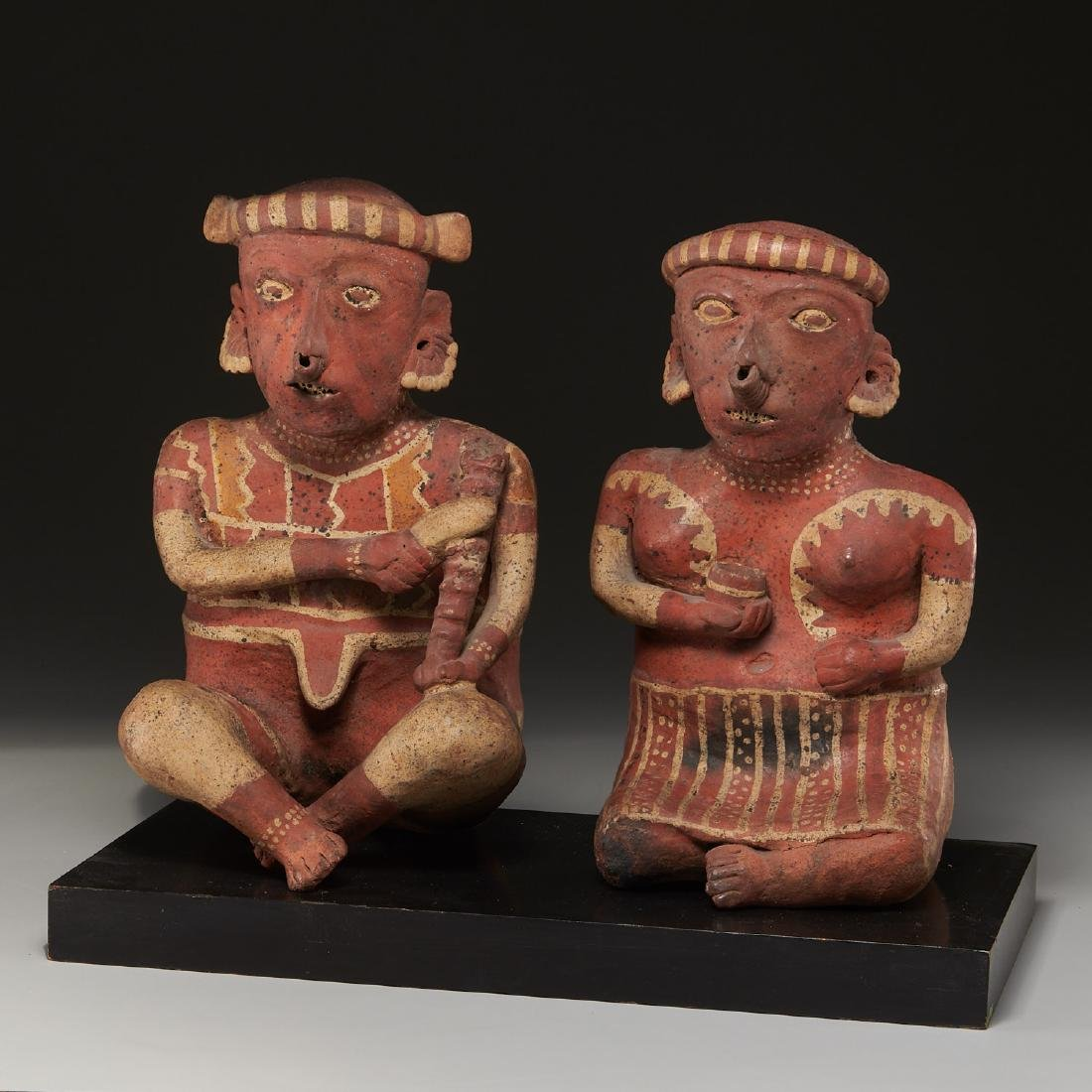 Pre-Columbian Nayarit matched sitting figures