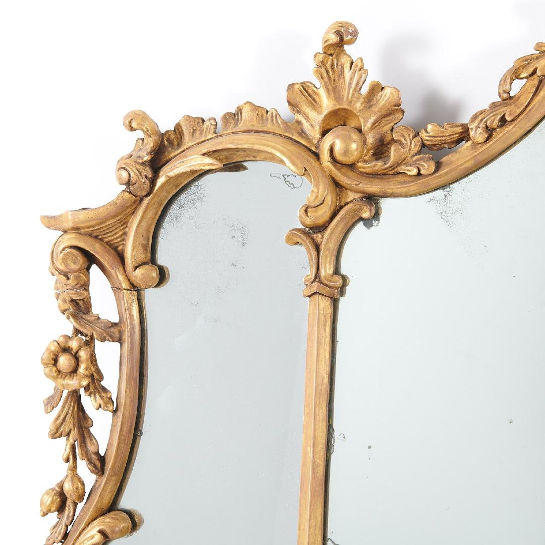George III carved giltwood over-mantel mirror - 3