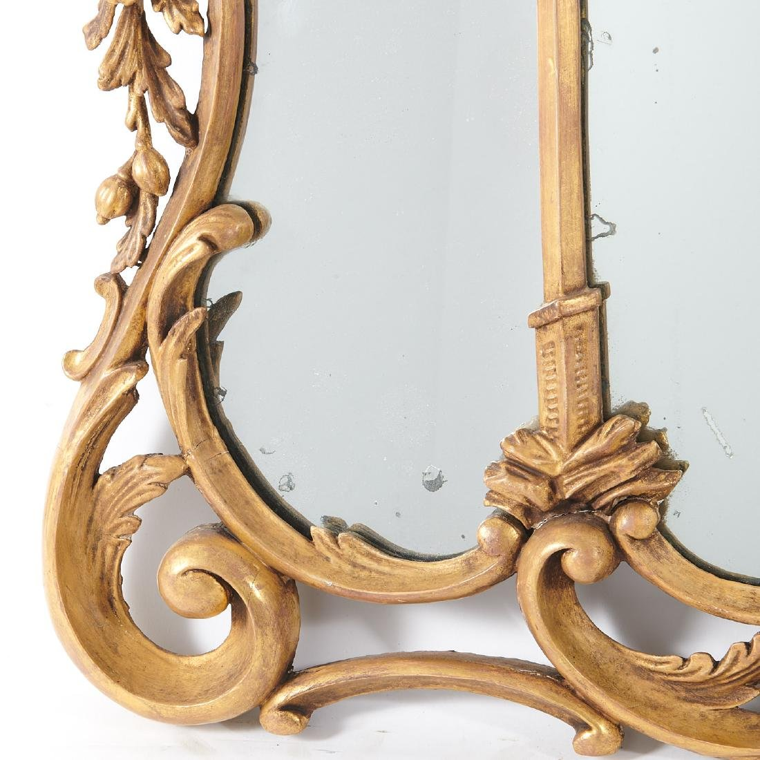 George III carved giltwood over-mantel mirror - 4